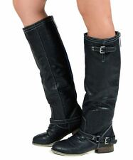 Breckelles Outlaw-81 Western Buckle Straps Decor Knee High Boots - BLACK PU