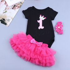 Infant Baby Girls 1st Birthday Romper Bodysuit Tutu Skirt Outfits 3pcs Dress Set