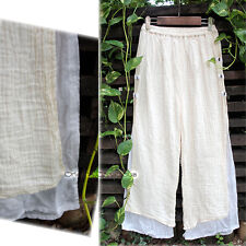 Wrinkled W Gauze Cotton Bi-color Layered Pants White Turquoise Natural Peasant