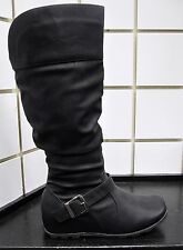 NEW Women STYLISH Slouch CASUAL COMFORT KNEE HIGH FASHION BOOT-BLACK