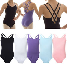 Kids Girls Cotton Leotard Gymnastics Costume Dance Ballet Tutu Dress Dancewear