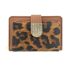 Womens Leopard Animal Print Faux Leather Credit Card Holder Ladies Purse Wallet