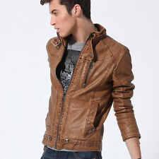 Mens Stand Collar Retro Leather Motorcycle Coat Punk Slim Fit Jackets Outwear
