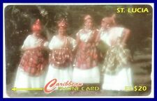 """saint lucia phonecard """"women of st lucia in their national wear ec$20"""