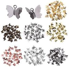 50pcs Beautiful Plated Butterfly Charms DIY Pendant Crafts Earring Findings Gift