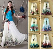 New Women's Flower Bohemian Peacock Feather Beach Party Maxi Long Pleated Skirt