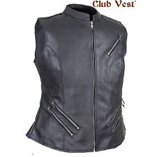 Women's Leather Gun Pocket Vest by Club Vest With  large concealed carry pockets
