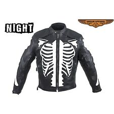 Mens Motorcycle Jacket soft naked cowhide leather Reflective Skeleton