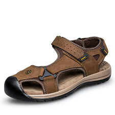 Big Size US6-11.5 Leather Sport Sandals Round Toe Mens Summer Fitness Shoes