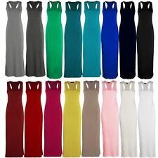 Womens Plain Racer Back Maxi Dress Ladies Sleeveless Round Neck Fancy Vest Top