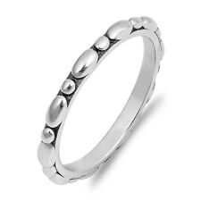 Oxidised 925 Sterling Silver Pebble Bubble Stacking Stacker Band Ring 2 mm