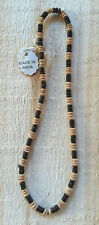 "Small Natural Wooden Beads Strung on Cord or Short Necklace- 16"" - 175-185 Count"