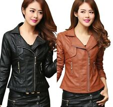 Vintage Women PU Leather Biker Motorcycle Zipper Jacket Long Sleeve Coat Outwear