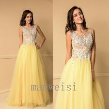 Yellow Evening Party Graduation Dress Long Sequins Blue Gown Size 2 4 6 8 10 12+