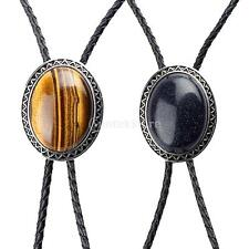 Oval Stone Native Indian Western Cowboy Rodeo Bolo Tie Leather Rope Necktie