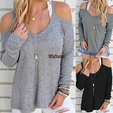 New Women Casual Off Shoulder Loose Spaghetti Strap Long Sleeve Top ES88