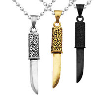Mens Fashion Jewelry Stainless Steel Dagger Knife Pendant Ball Bead Chain