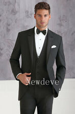 Black Men Fashion Wedding Suits Groom Guest Tuxedos 2 Button 3 Pieces Custom New