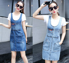 Fashion Women Casual Denim Strap Overall Suspender Slim Pencil Skirt Jeans Dress