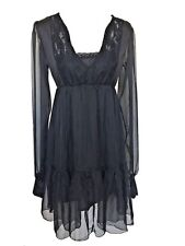 Black Peasant Gypsy Boho Smock Empire Waist Gothic Hippy Lace Chiffon Dress Top