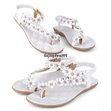 Wome Girls New Bohemia Flower Beads Flip-flop Shoes Flat Sandals OO55
