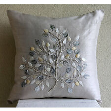 Silver Mother Of Pearls Tree 45x45 cm Silk Cushion Cover For Couch - Silver Leaf