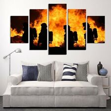 Firefighter Picture Canvas Painting Wall Abstract Framed Art Modern Home Decor