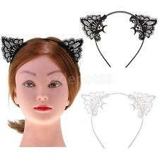 Lace Cat Ear Headband Costume Girls Party Fancy Dress Hair Accessory-White/Black