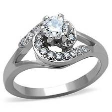 TK1529P SWIRL ROUND CUT RING CZ CUBIC ZIRCONIA STAINLESS STEEL ENGAGEMENT LADYS