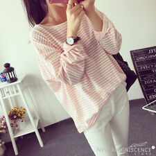 Fashion Women's Simple Stripe Top Long Sleeve Fresh T Shirt Casual Loose Blouse