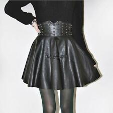 Autumn Winter Women Fashion Punk Style Rivet Synthetic Leather A-Line OO55