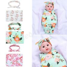 Newborn Baby Boy Girls Infant Printed Swaddle Wrap Sleeping Blanket +Headband 2X