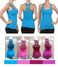 Cute Floral Lace Back Ribbed Racer Tank Top Teal Blue Small