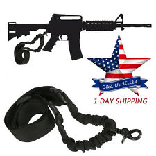 Tactical One Single Point Adjustable Bungee Rifle Gun Sling AR15 M16 Black Strap