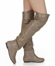 RF Room Of Fashion Trend-Hi Slouchy Low Heel Over-the-Knee Flat Boots TAUPEPU