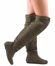 RF Room Of Fashion Trend-Hi Slouchy Low Heel Over-the-Knee Flat Boots OLIVESU