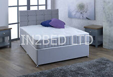 4FT DOUBLE BED SILVER FABRIC DIVAN BED + MEMORY MATTRESS + HEADBOARD MEMORY BED