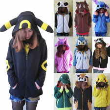 Kawaii Anime Animal Pikachu Zip Hoody Jacket Hoodie With Ears Polar Fleece   o