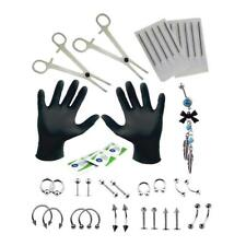 41Pcs 18G Body Piercing Kit Needle Steel Tongue Eyebrow Nose Lip Ring Tools