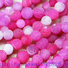 """6-8-10mm Pink Dream Fire Dragon Veins Agate Loose Beads 15"""""""