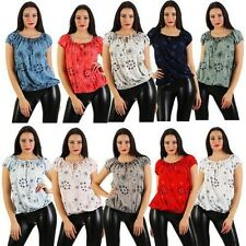 Ladies Short Sleeve Blouse Carmen Blouse Top Summer Blouse Shirt Tunic One Size