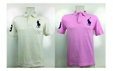NWT Ralph Lauren Polo Shirt Big Pony Boys Large (14-16)  Ivory, Pink + Gift Case