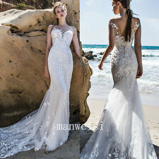 Elegant White Beach Wedding Dress Lace Mermaid Sleeveless Long Train Bridal Gown