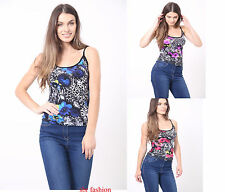 NEW Womens Ladies PRINTED SLEEVELESS CAMI  VEST Strappy Top PLUS SiZE 8-16