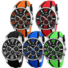 Fashion Mens Date Chronograph Waterproof Quartz Military Sports Army Wrist Watch