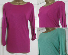 NEW EX Monsoon Ladies Casual T-Shirt Top 3/4 Sleeve Button Tab Green Pink 8-18