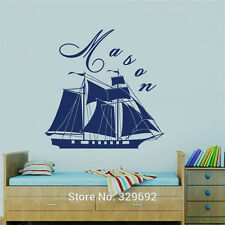 Sea Theme Customized Boys Name Decal Vinyl Kids Text Personalized Wall Sticker