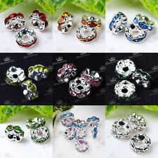 20x Silver Plated Rondelle Crystal Rhinestone Charms Beads Spacer 6mm Findings