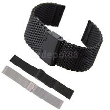 18mm 20mm 22mm Stainless Steel Wrist Watch Mesh Band Strap Double Clasp Bracelet