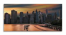 New York Cityscape Sunset Orange Skyline Panorama Canvas Wall Art Home Decor